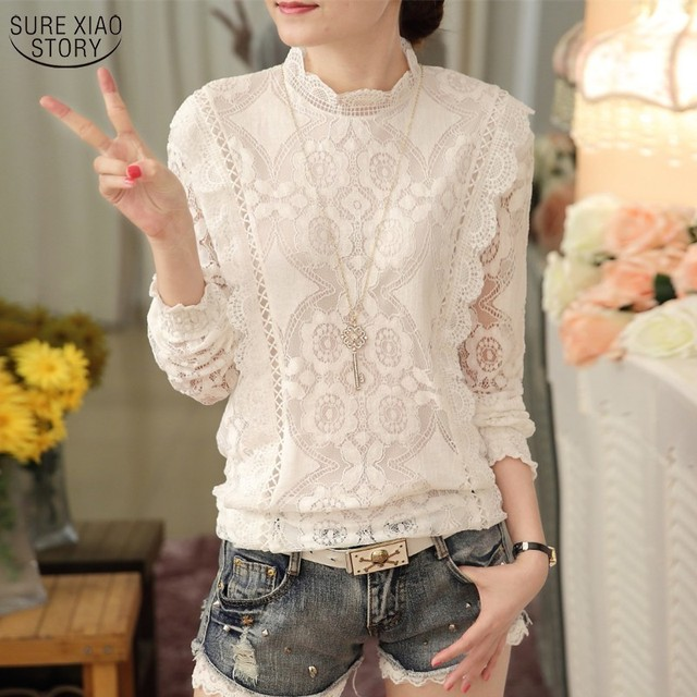 New Arrival 2016 Autumn Women Blouses Long Sleeve Fashion Casual Chiffon Shirts Stand Floral Lace Blouses Plus Size Tops 07F 25