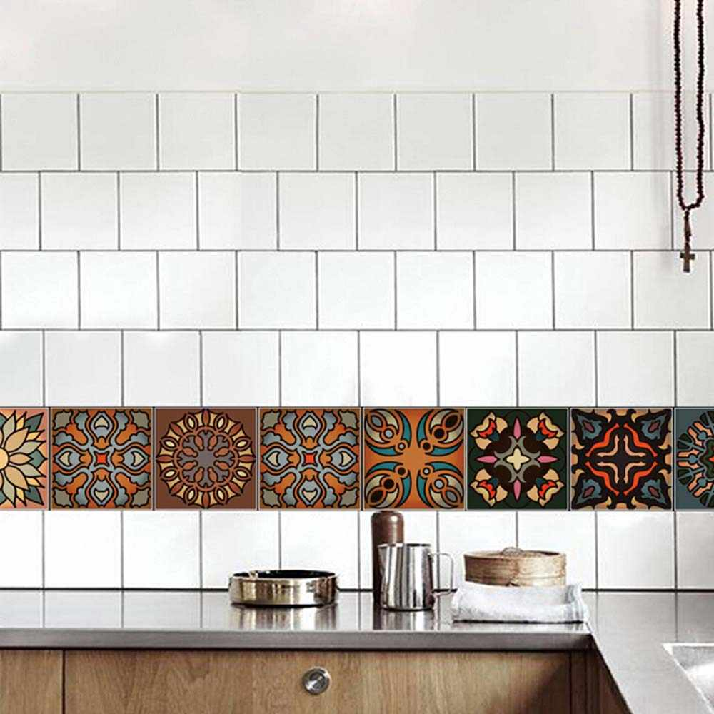 100Pcs Adhesive Morocco Mosaic 3D Tiles Wall Sticker Kit Kitchen Bathroom Decals