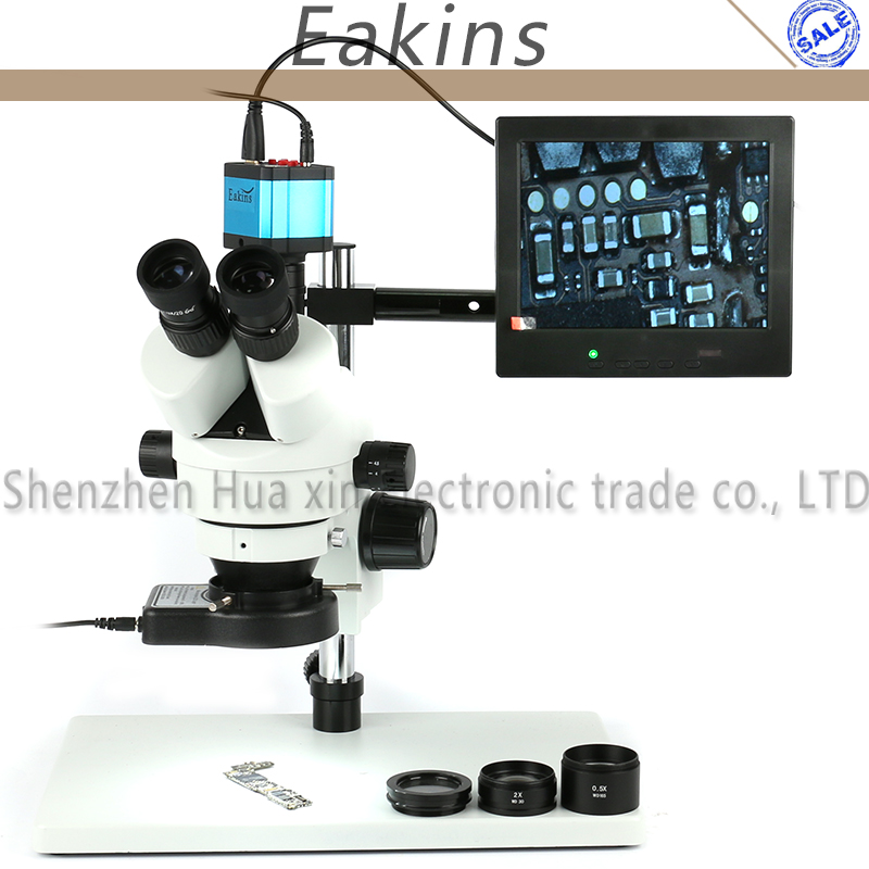 Continuous Zoom Binocular Visual 3.5X-90X Trinocular Stereo Microscope+ HDMI HD USB Digital Industry Video Camera+144 LED Light continuous zoom binocular visual 7x 90x trinocular stereo microscope digital microscope camera vga cvbs usb av tv outputs