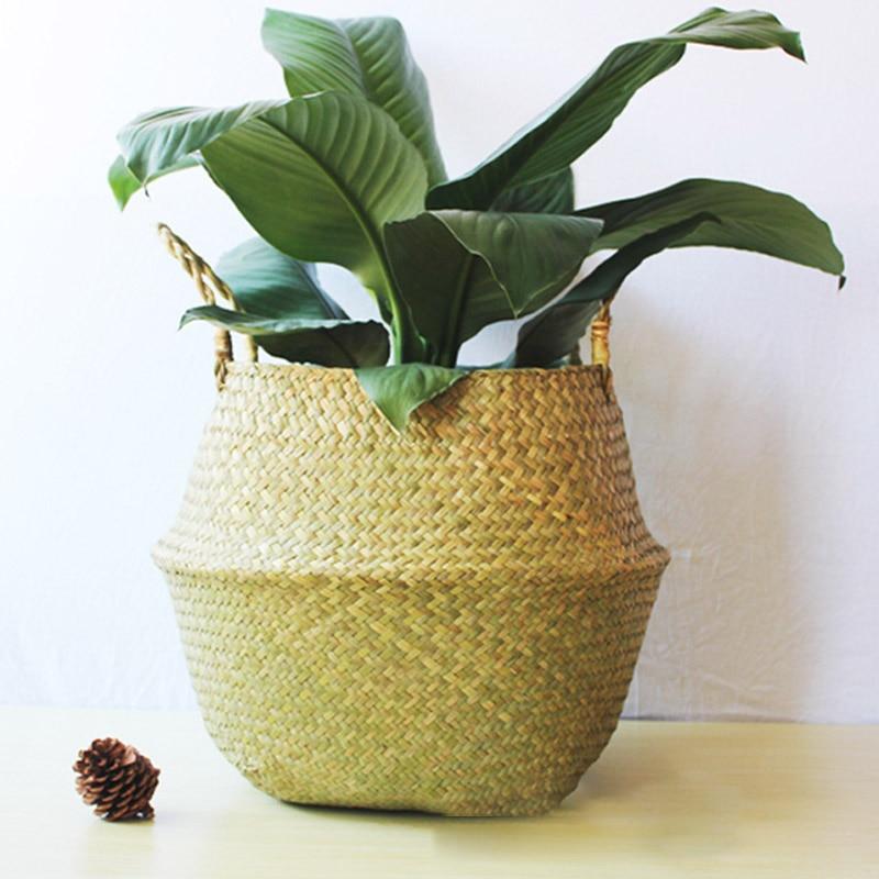 Foldable Handmade Storage Baskets Patchwork Wicker