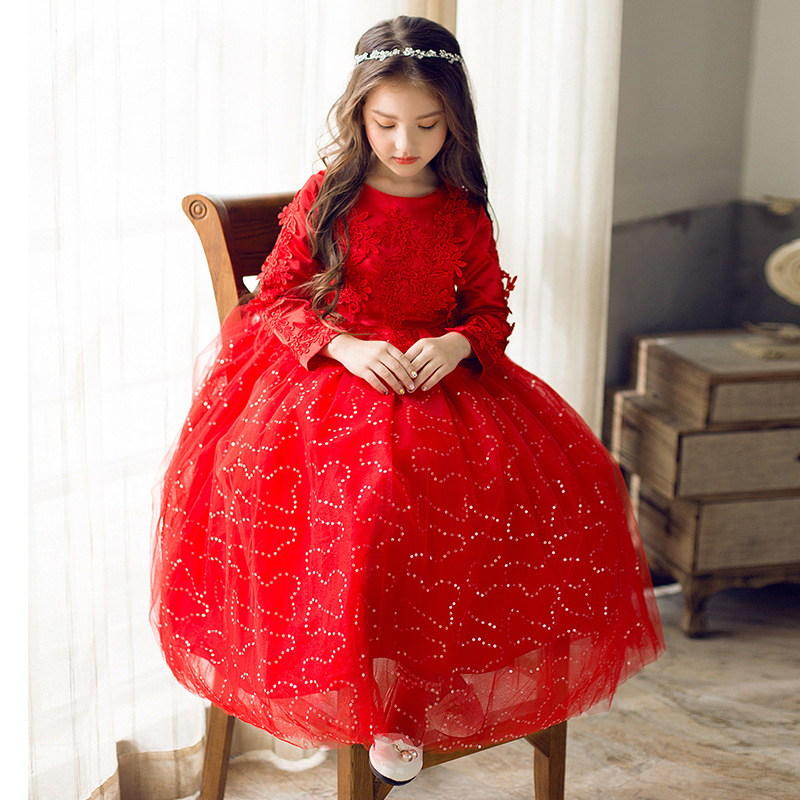 2018 New Flower Girl Dress Tutu Dress Long Sleeve 3-12 Years Children Wedding Party Clothes Princess Girls Dresses Floral JL01 2018 winter toddler party floral princess dress girls clothes wedding kids dresses for girls bridesmaid tutu dress 4 10 12 years