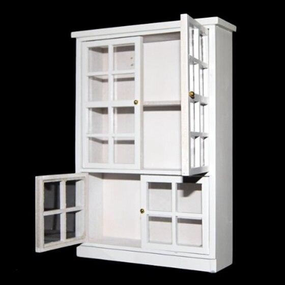 2018 New 1/12 Dollhouse Miniature Furniture Kitchen Dining Cabinet Display Shelf White