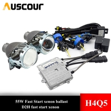 2 adet 3.0 inç H4Q5 Bi xenon hid projektör lens metal tutucu D2S D2H xenon kiti ampul far H4 modeli araba styling değiştirmek