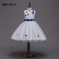Girls Dress Butterfly Formal Frocks Princess Wedding Bow Dresses Fancy Children Ball Gown Party Costume Performance Cloth 4 6 8Y