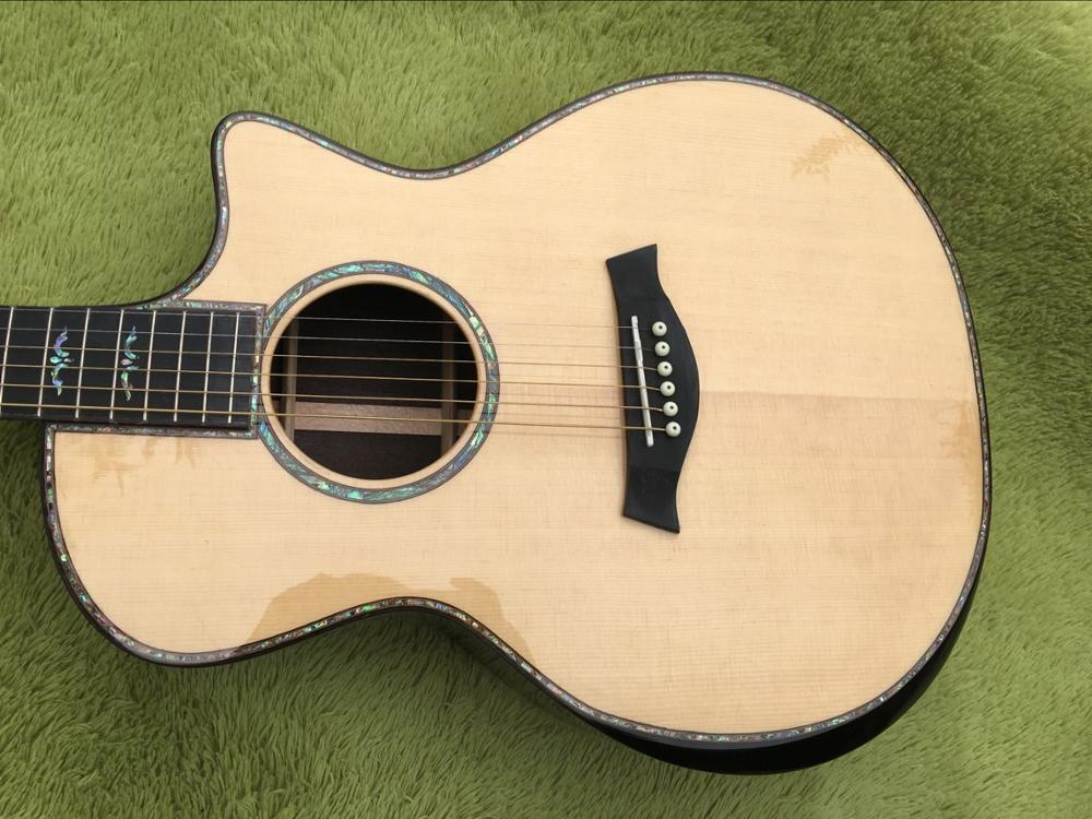 2018 New Factory body cut Chaylor 914ce acoustic guitar all real abalone solid spruce top TY