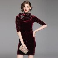 2018 Printemps Femmes de Haute qualité Col Roulé Trois Quarts Slim paquet hanche robe aristocratique tempérament Velours robes S ~ XXXL