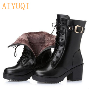 Image 5 - High heeled genuine leather women winter boots thick wool warm women Military boots high quality female snow boots K25