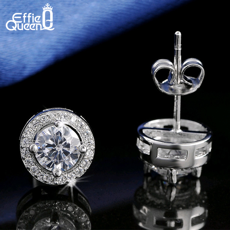 Effie Queen Hot Sale Women Earring Stud 0.75ct CZ Zircon Crystal Jewelry Stud Earrings with Round Yellow Clear Zircon DE104