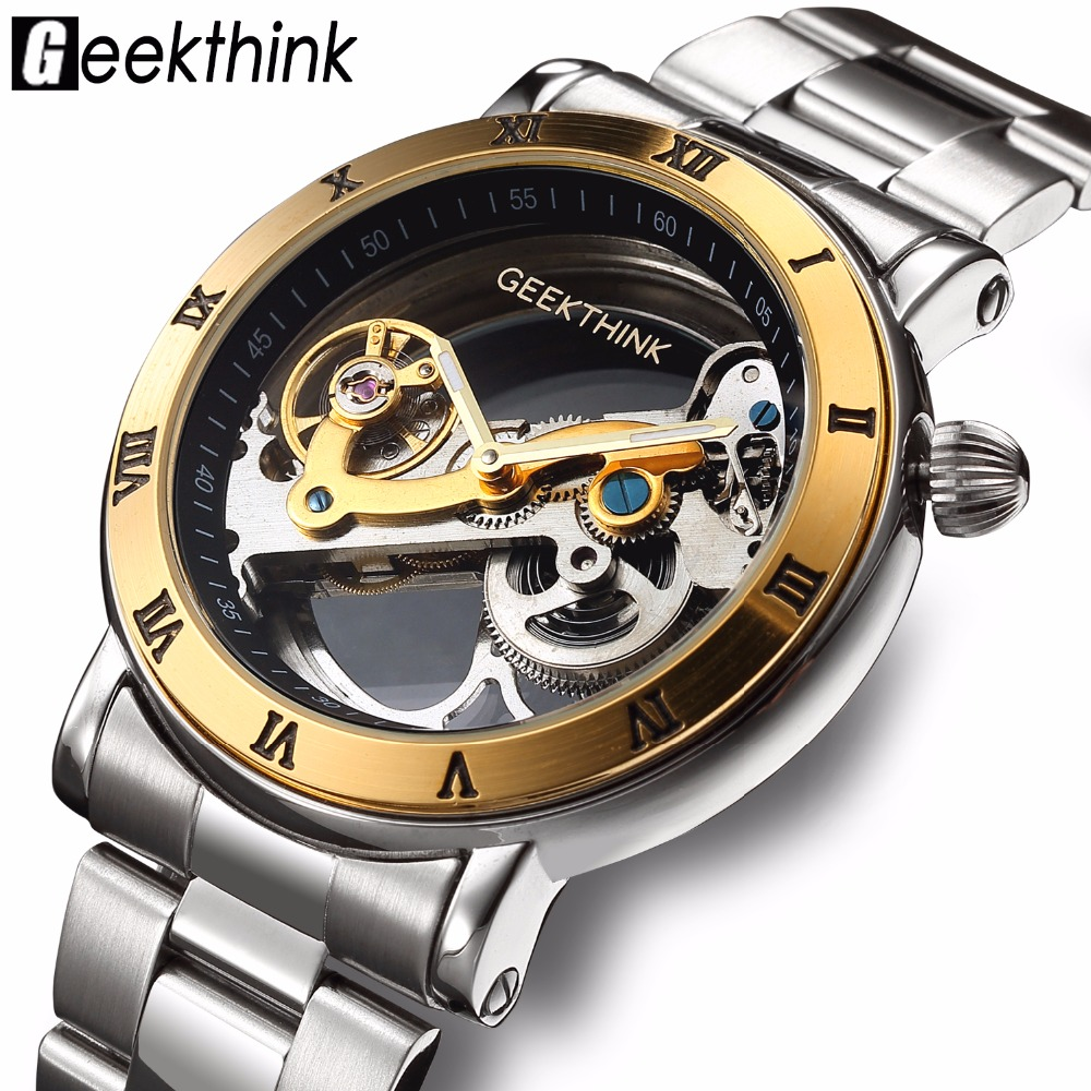GEEKTHINK Top Luxury Brand Watch Men Skeleton Automatic Mechanical Watch Gold Skeleton Watches Full Stainless Steel Male Clock top luxury sewor big automatic military watch men gift gold stainless steel diamond skeleton clock mechanical mens wrist watches
