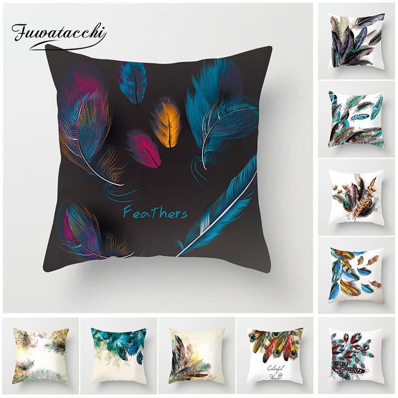 Fuwatacchi Peacock Feather Cushion Cover Beautiful Color Contrast Animal Feather Pillowcase For Sofa Car Home Decor Pillow Case