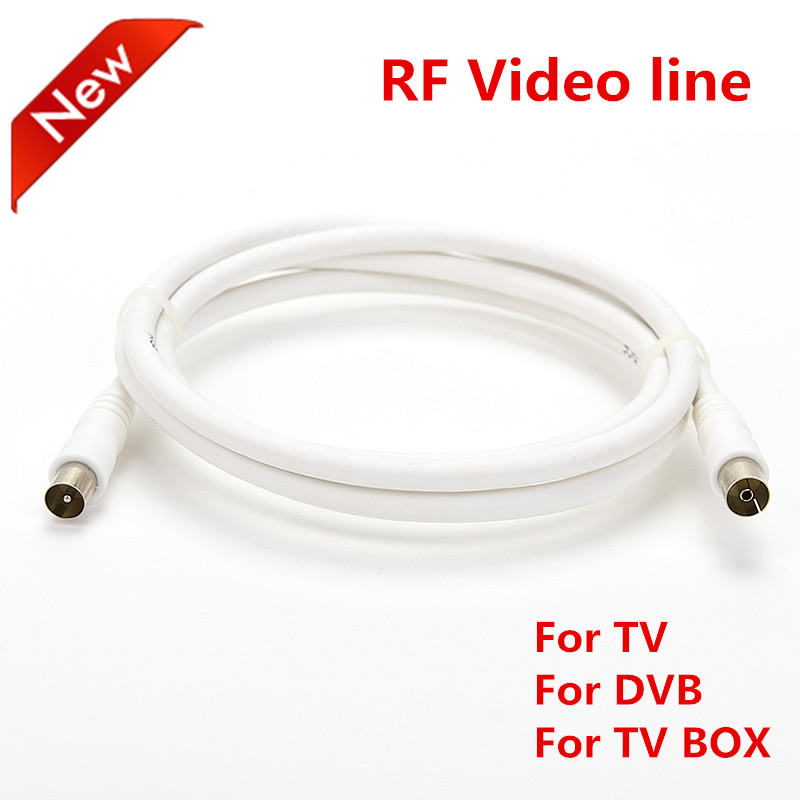Vmade 1m white black RF line coaxial coax cable assembly video IEC DVB TV male to