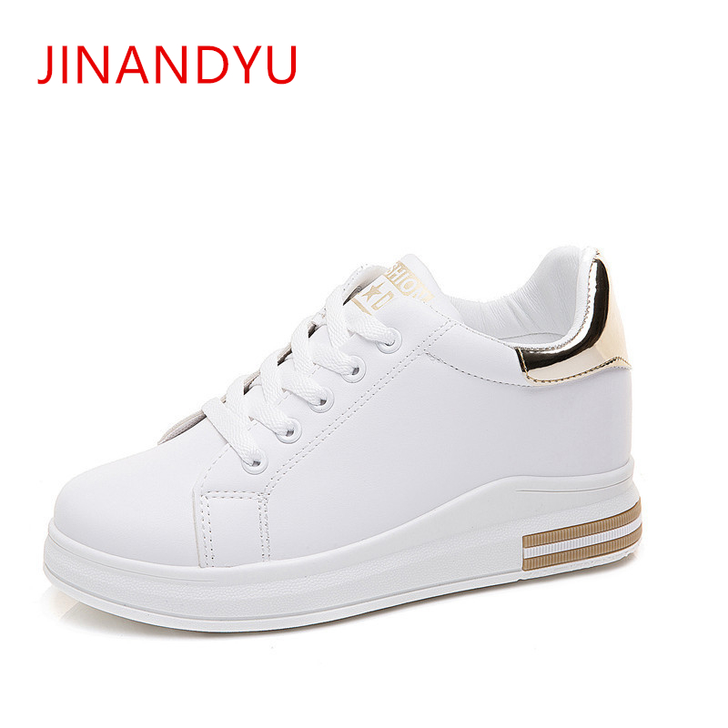 2019 Spring New Designer Wedges White Shoes Female Platform Sneakers Women Tenis Feminino Casual Female Shoes Woman Gold Sneaker