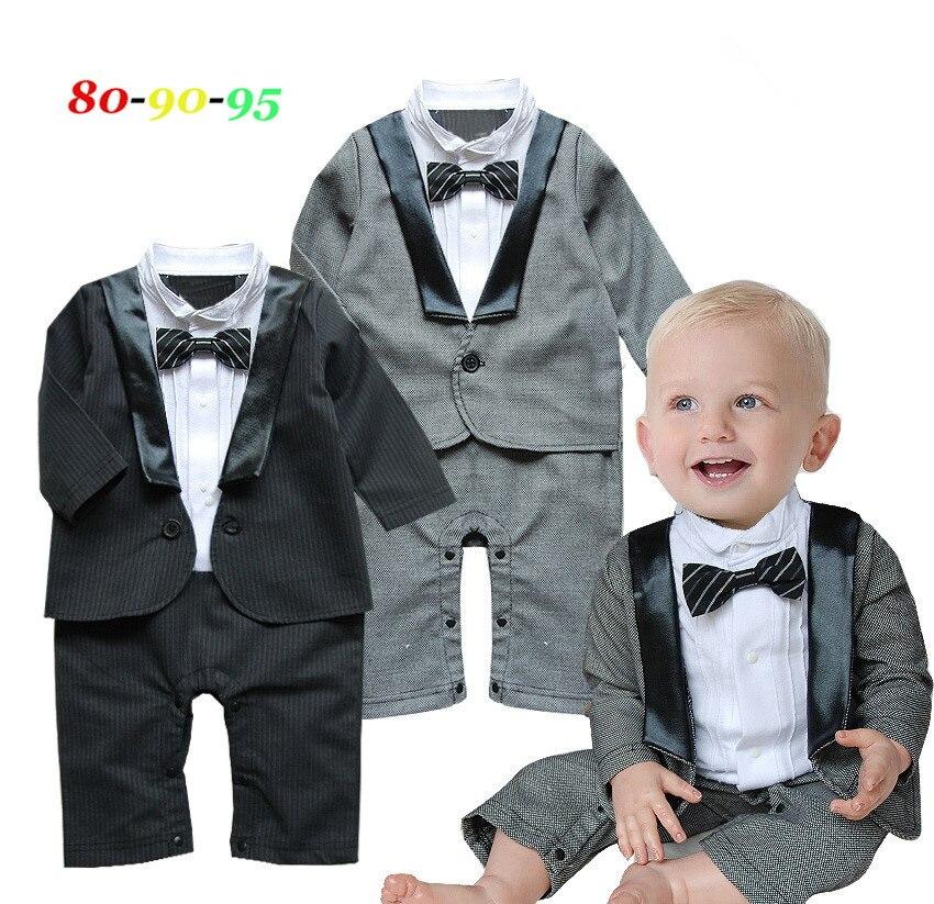 2016 New baby boy romper long sleeve gentleman costumes Full dress newborn spring autumn infant baby