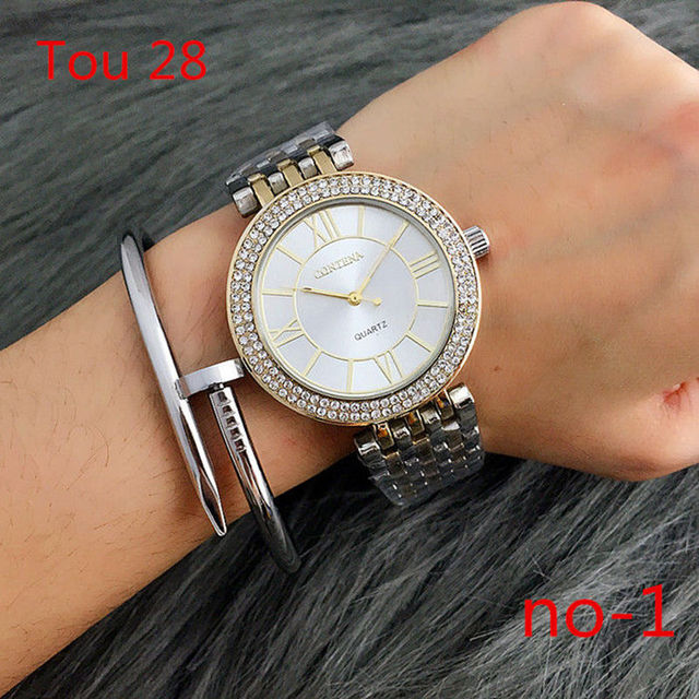 Tou28 the  hot sell Women  New Geneva Ladies Quartz Gifts For Girl Full Stainless Steel Rhinestone wrist watches