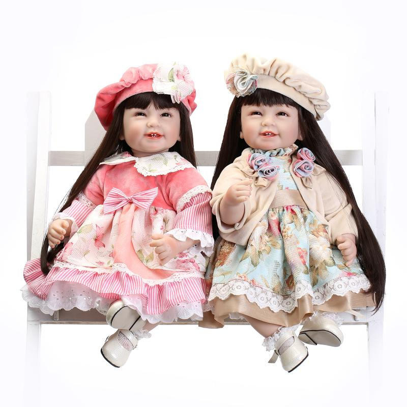 55cm simulation of long hair dressing baby dolls cute girl silicone doll gift hot simulation response of rice to top dressing of p through complex fertilizers