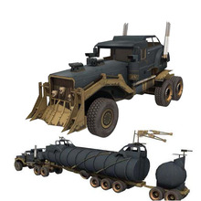 Max War Rig Paper Military truck Model Toys Handmade DIY creative Party show props decorate Car Gift  For Children