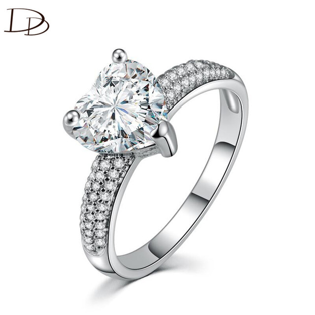 Big Heart Stone 3 Carat Crystal Jewelry Engagement Wedding Rings For