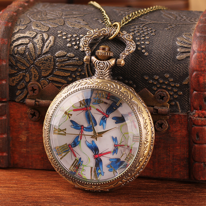 2019 New Listing Fashion Men And Women Pocket Watch Quartz Bronze Antique Pocket Watch Steampunk Fashion Antique Printing