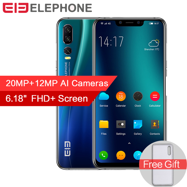 Elephone A5 6GB 128GB Mobile Phone Android 8.1 MTK6771 Octa Core 6.18 Inch FHD+ Full Screen 20MP+12MP 4000mAh 4G LTE Smartphone