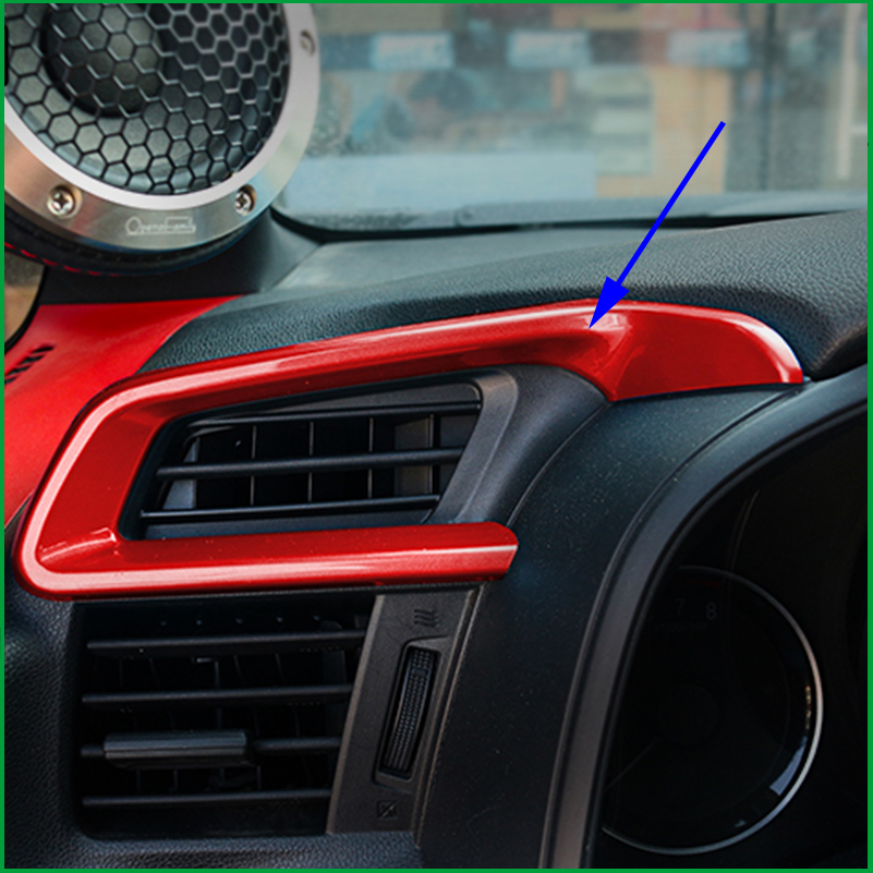 Car styling Interior ABS Carbon Print Red Air Vent Outlet Frame Cover Trim Decoration For Honda FIT Jazz GK5 2014 2015 2016 LHD executive car