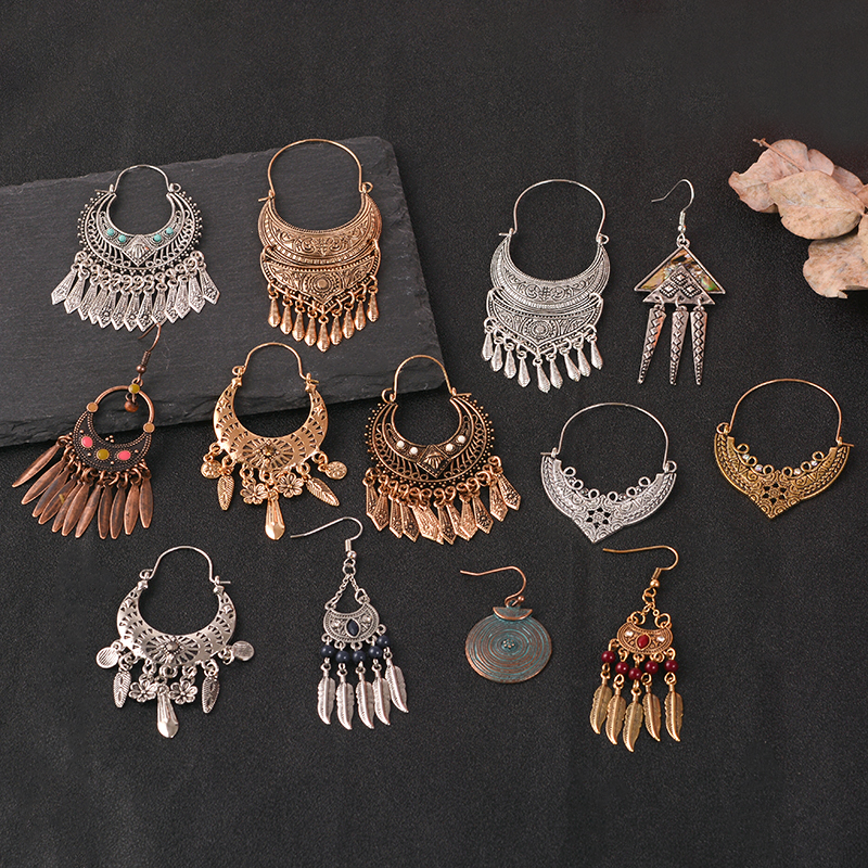 Indian long Earring folk-custom color metal tassel Eardrop Vintage ethnic dangle Earring Wedding party Jewelry women accessories