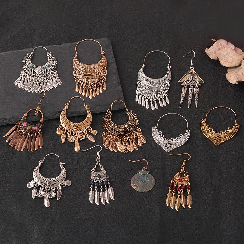 Indian long Earring folk-custom color metal tassel Eardrop Vintage ethnic dangle Earring Wedding party Jewelry women accessories