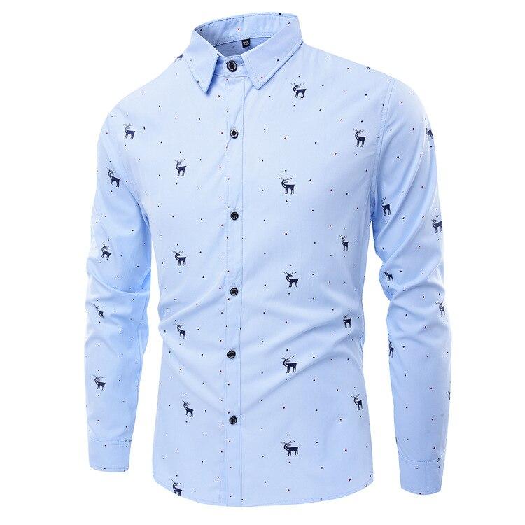 Overhemd Kerst.Us 19 78 Nieuwe Mode Mannen Kerst Herten Afdrukken Klassieke Overhemd Mannen Slanke Fitcasual Shirts Merk Formele Business Camisa Hombre 5xl In