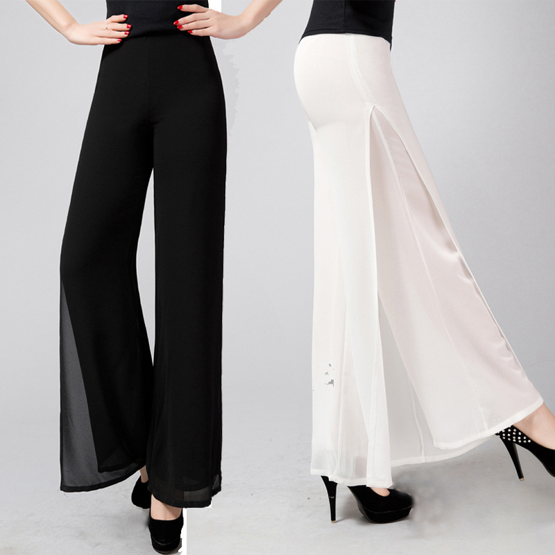 2019 new Ladies Fashion Pants Long Full Length Womens Wide Leg High Waist Side Split Chiffon Pants Summer Trousers Plus Size 6XL-in Pants & Capris from Women's Clothing    3