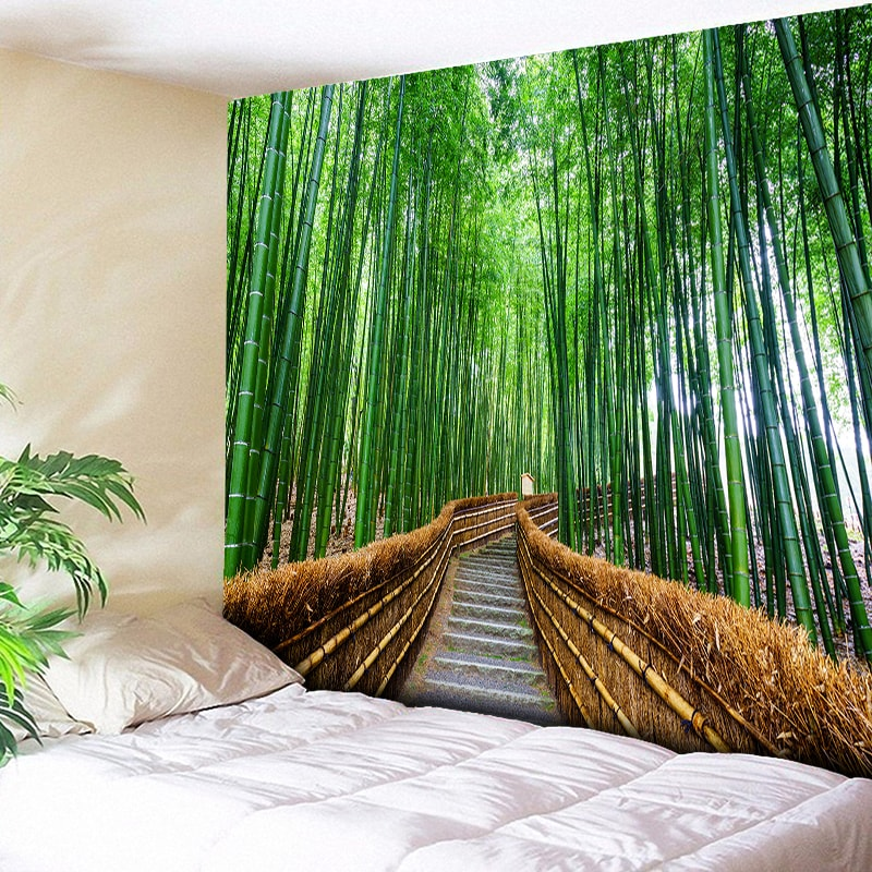 Bamboo Forest Tapestry 3D Print Nature Tree Indian Mandala Tapestry Wall Hanging Tapestries Boho Bedspread Wall Rug Big Blanket