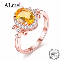 Almei S925 Gemstone Diamond 1 5ct Citrine Topaz Wedding Rings Rose Gold Plated Fine Jewelry Natural