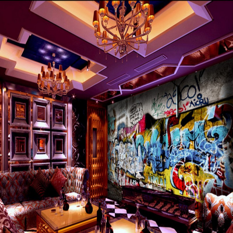 Bar Wallpaper: Custom Photo Wallpaper Custom Street Rock Graffiti Bar KTV