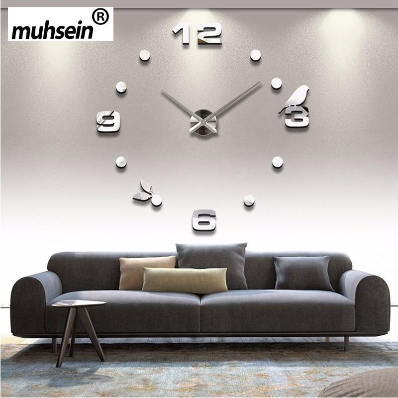 Muhsein Factory 2019 New Modern DIY Black Cat Bird Quartz Wall Clocks Home Decor Orologio Muro Livingroom Creative Watch Wall