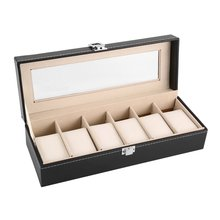 Boxes Watch-Box Case Display Black 6-Grid Storage-Holder Jewelry Refinement-Slots Wrist