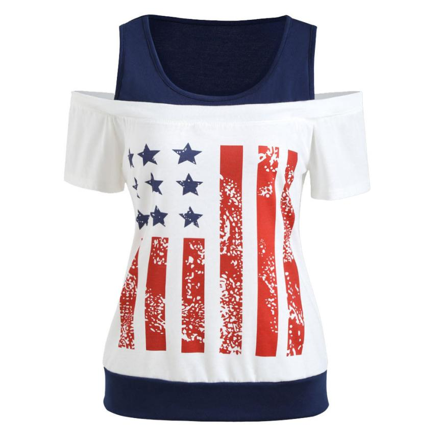 feitong 2018 New Hot Sale Spring Summer Women Fashion Sexy American Flag Printing T-Shirt Short Sleeve Casual Tops Clothe