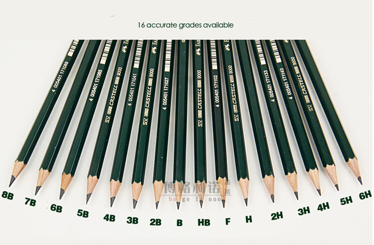 Faber castell 9000 pencil sketch professional pencil 16 pcs/set 16 different hardness write sketch drawing pencil scribble scribble pen faber castell 25 pieces of pencil sketch sketch article carbon combination 112969