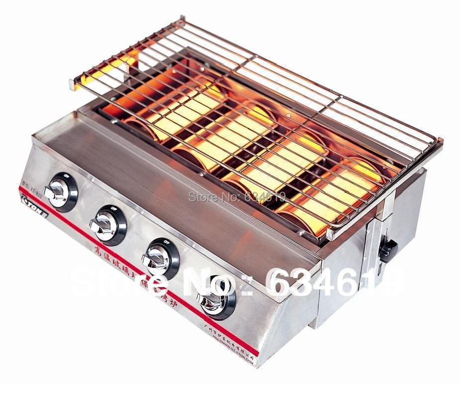 Multi-functional commercial smokeless gas stove and commercial gas grill
