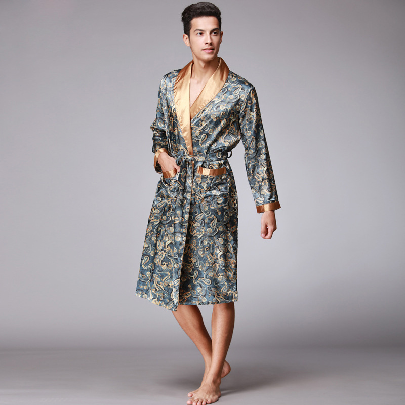 Chinese Style Men Satin Bathrobe Robe Long Sleeve Pajamas Vintage Print Nightgown Sleepwear Kimono Spring Autumn Home Wear