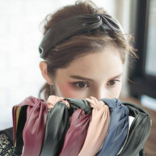 Korean 6 Colors PU Leather Hairband Knot Cross Bow Headband Lady Girls Hair Hoop Bands Accessories Women Scrunchy Hair Headdress(China)