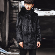 CR090 men's genuine rabbit fur coats real one fur jackets outerwear black color with hooded