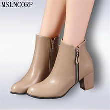 Plus Size 34-45 New Autumn Winter Women boots High heels Zipper Ladies Sapatos Martin Leather boots Square heel Snow Boots Shoes women boots 2015 autumn and winter high heels round toe shoes woman soft leather england styel martin boots plus size 34 43y88