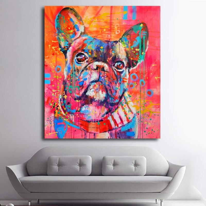Indah Kartun Hewan Canvas Art Print Lukisan Lucu cat air Anjing - Dekorasi rumah - Foto 2