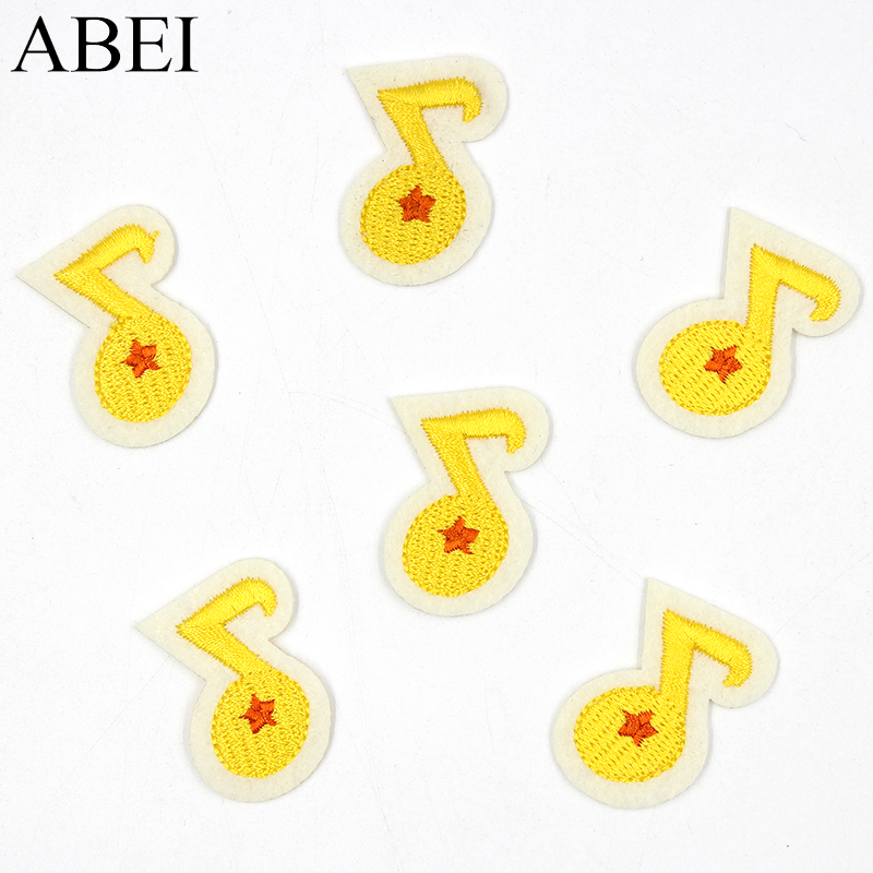 10pcs/lot Iron On Music Note Stikcers for Baby Clothes Backpack Embroidered Cartoon Patches Jeans Coat Applique Diy Sewing Badge