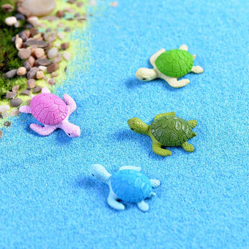 2pcs Small Cute Turtles Aquarium Micro Fairy Garden Miniatures Decoration Dollhouse Ornament Figurines Toys DIY Accessories