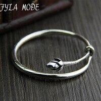 Fyla Mode Brand 100 925 Silver Bracelet Bangle For Women With Romantic Lotus Flower Bud Sterling