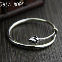 Fyla Mode Brand 100 925 Silver Bracelet Bangle For Women With Romantic Lotus Flower Bud Sterling