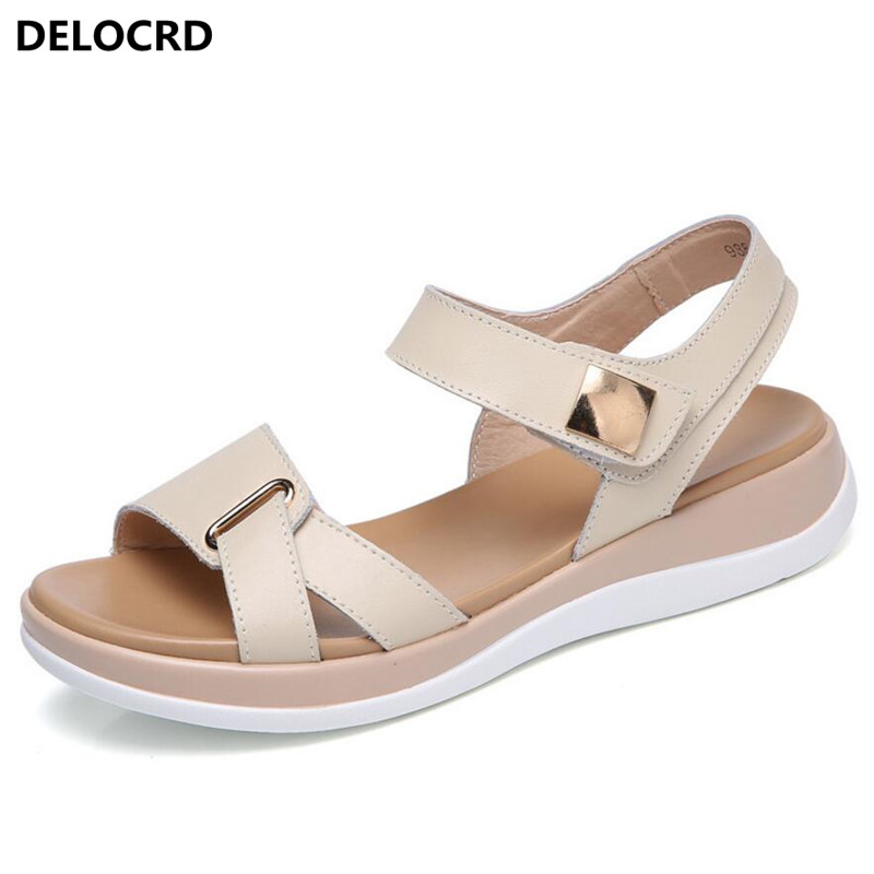 2018 New Summer Women's Sandals Leather Sandals Female Size Leather Sandals Open toe Fish Mouth Casual Shoes Slippers Footwear