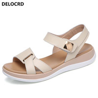 2018 New Summer Women S Sandals Leather Sandals Female Size Leather Sandals Open Toe Fish Mouth