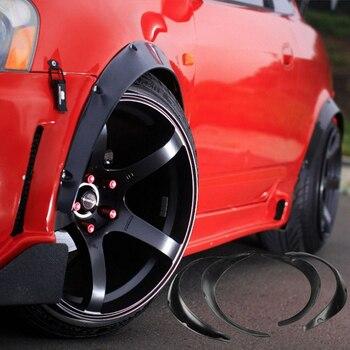 4 PCS Black Universal Fender Flares Exterior Car Refitting Flexible Durable Polyurethane Auto Car Body Kit Car Accessory 50/70mm
