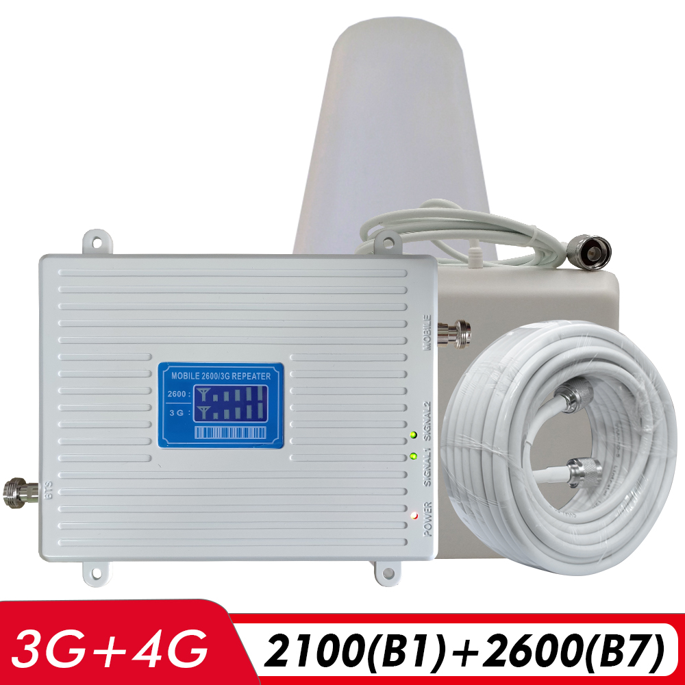 3G 4G Dual Band Signal Booster WCDMA/UMTS 2100(B1)+FDD LTE 2600(B7) Cell Phone Signal Repeater 2100+2600 Cellular Amplifier Set