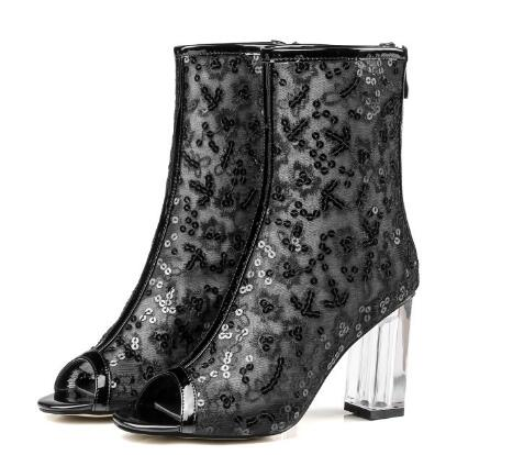 Summer new women mesh peep toe high heel ankle boots Black/white open toe bling chunky heel short boots for ladies Fashion boots new popular black and white exquisite beads and rivets decorated three buckles peep toe high heeled short sandal boots
